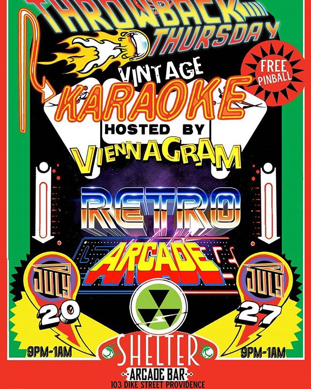 Thursday July 20th VIENNAGRAM hosts #karaoke #freepinball #classicarcade #drinks #getwasted #sing #throwbackthursday #pvd #livemusic