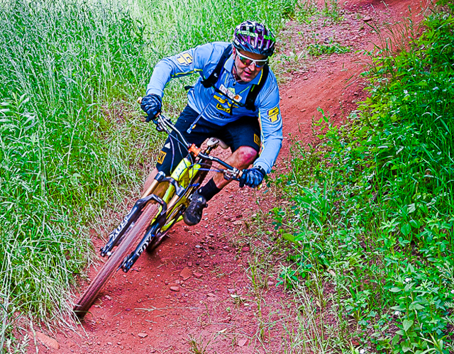 MTB legend Hans Rey rips around the new trail.  (Photo by Hansi Johnson)