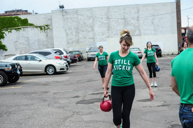 Nora McInerny Purmort at a Still Kickin workout (Photo by Jason Albus)