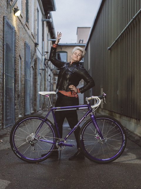 Anna Schwinn with her Prince-inspired Peacock Groove custom bike.