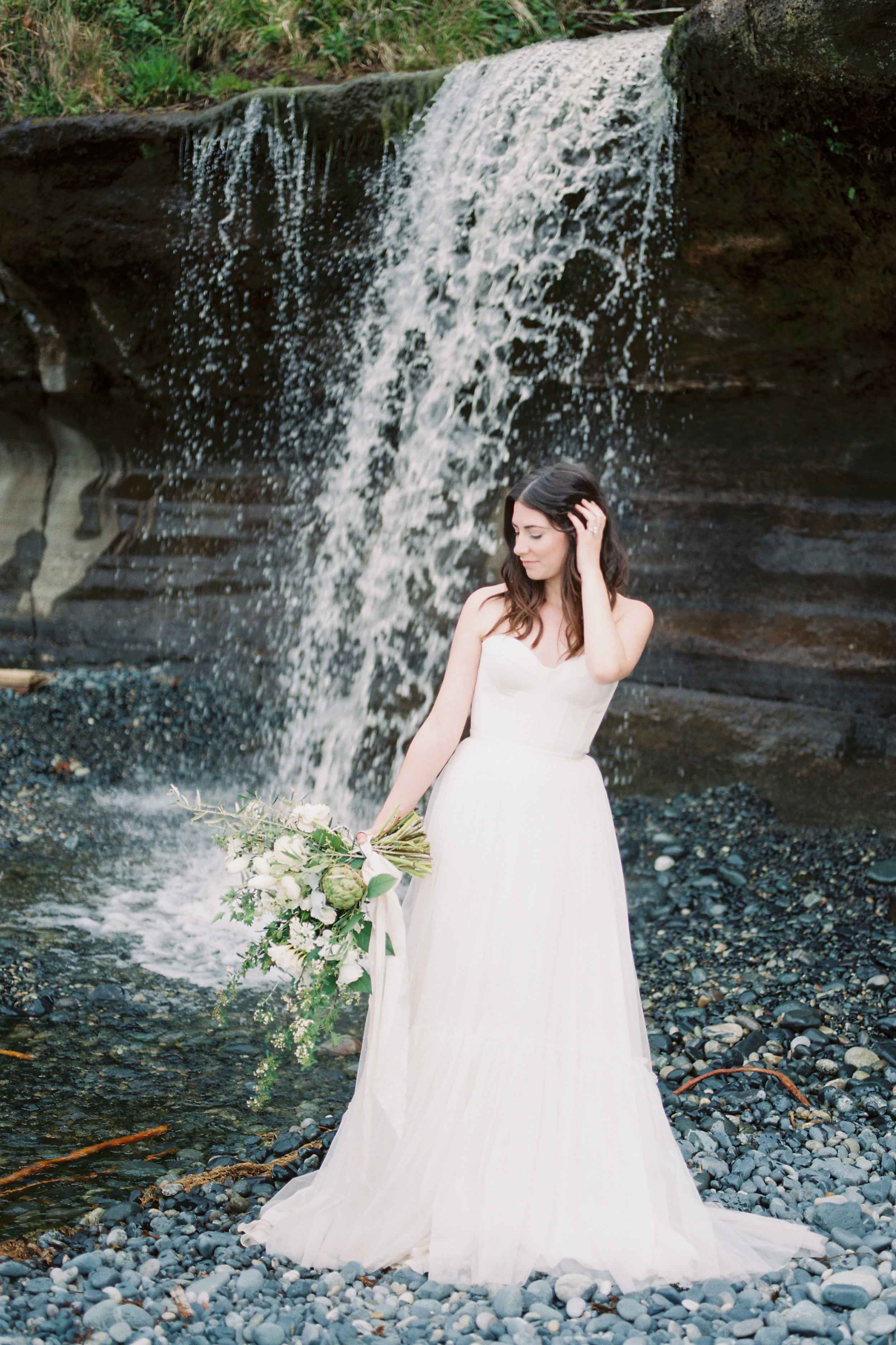 Bridal Portraits - Bohemian Elegance at Sandcut Beach in Sooke, Vancouver Island