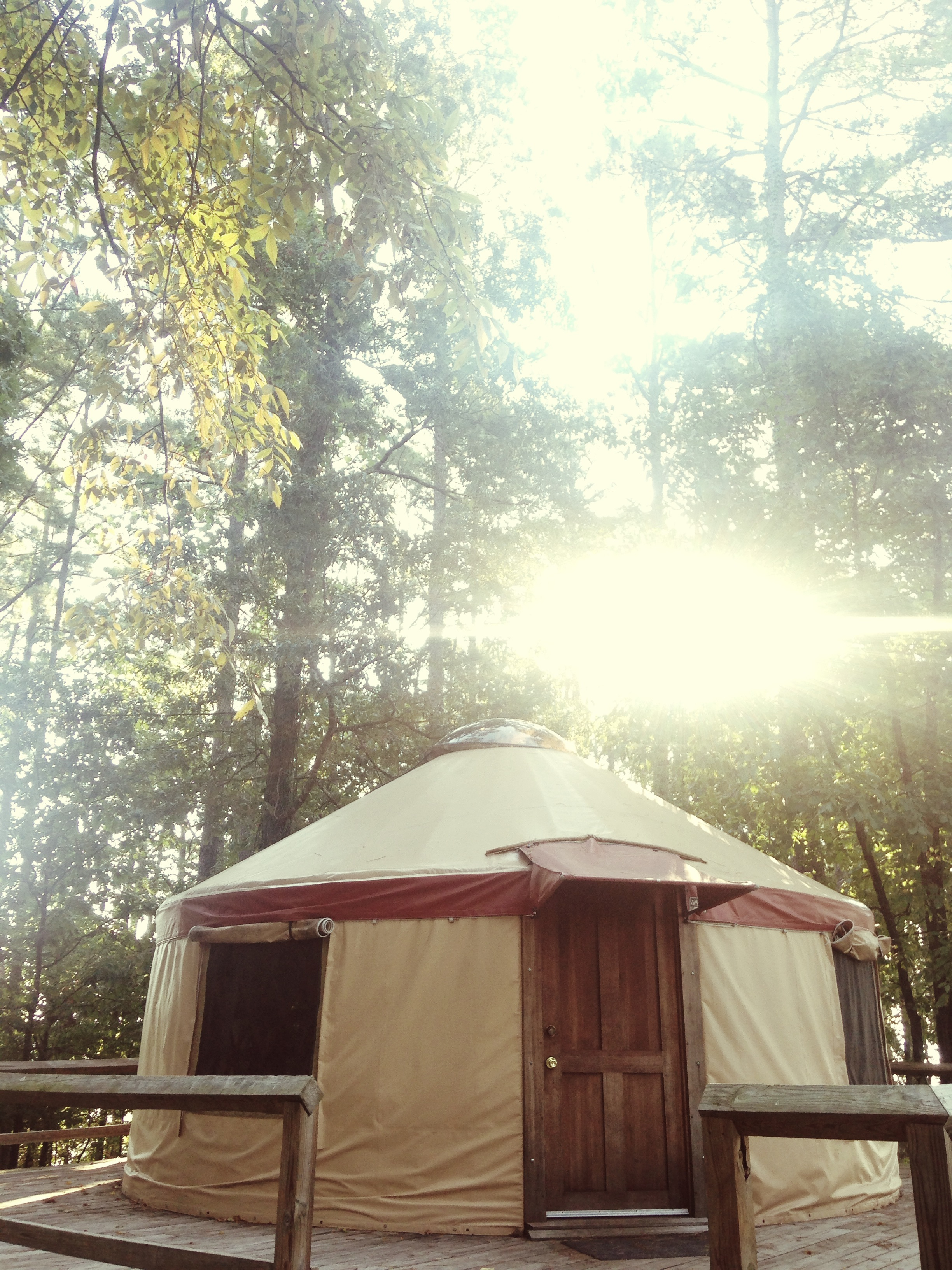 We stayed the night in one of these cool yurts. Arkansas' state parks are da bomb.