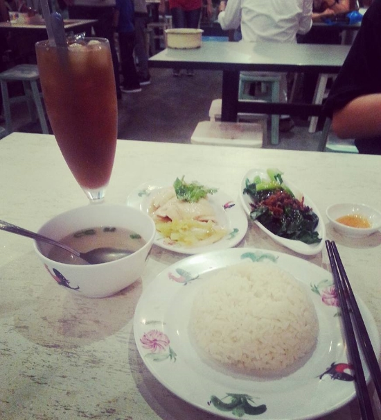 The Jew Kit on Killinney Road - our first meal in Singapore. This was the 'Lovely Meal', which was Hainanese chicken, rice, broth, and vegetables. I think my drink was black grass jelly with lychee, even in the heat, it was too sweet for me!