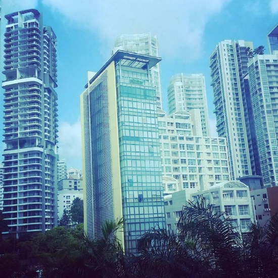 The view from my hotel window at the Orchard Grand Court in Singapore.