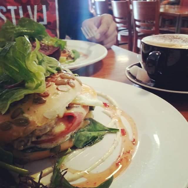 Creamy mushroom breakfast bagel from Javaman Cafe.