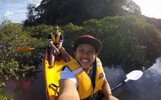 Tandem kayaking with Morgan at Ohiwa Harbour