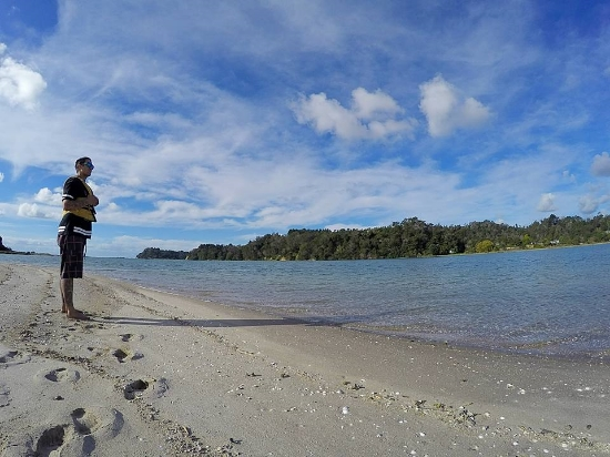 Morgan checking out the view of the harbour from Hokianga Island.