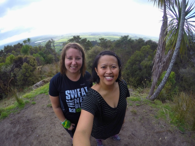 My friend Taryn and I at the summit of Latham's Track - you can't see Whale Island in this photo, but the view is a great snapshot of the surrounding farmland in the area. By the way, how time flies, I used to teach her dance when she was still in high school!