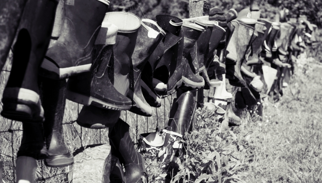 There's a fence of gumboots by the carpark, I forgot to read what it was for.