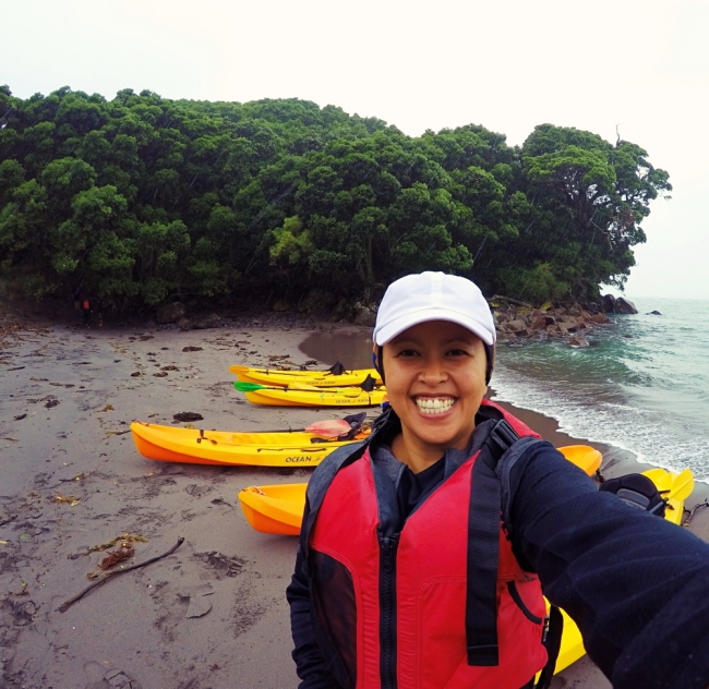 The rain couldn't stop this smile - finally made it to Whale Island!