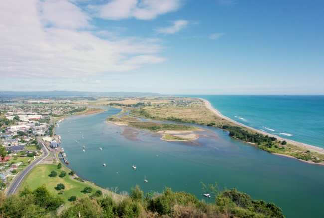 The Whakatane township, river and the Pacific Ocean.