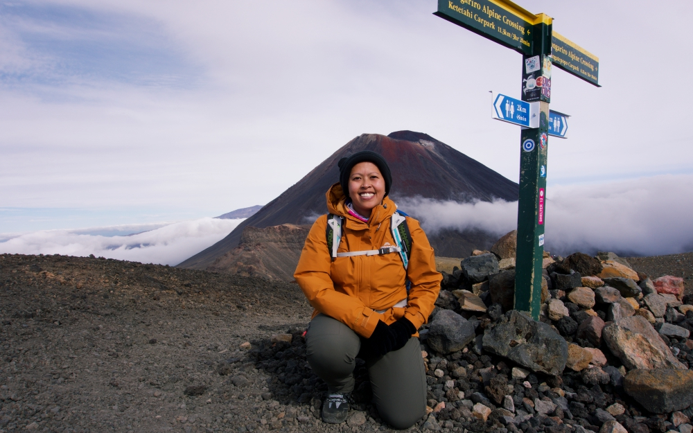 Here's a picture of clouds, Mt. Ngauruhoe and this Asian.