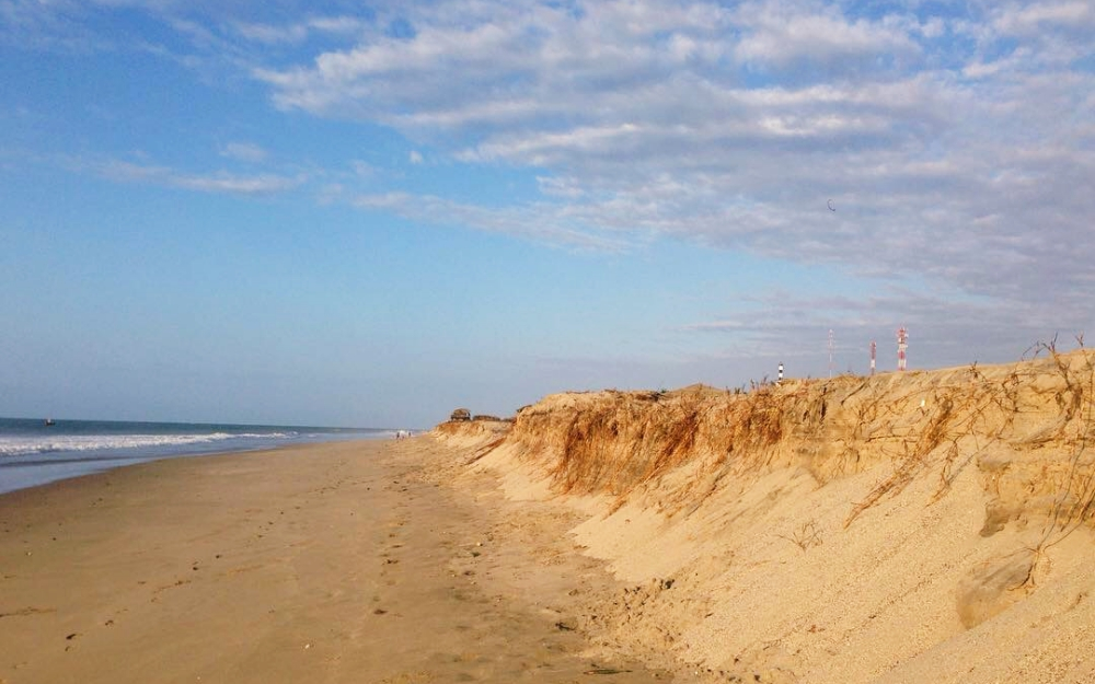 The beach about two minutes walk from my room at Pinamar Hotel.