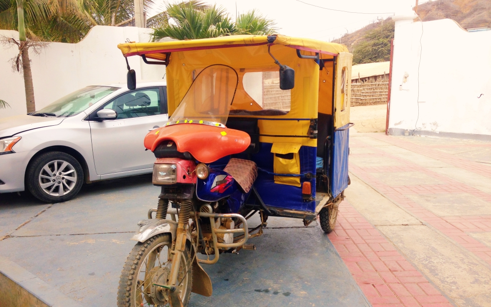 The mototaxi, the preferred mode of transport by locals. It is essentially a motorbike with covered bench seating good for three. It is cheap, just 1.5 soles into town, or 2 soles if further.