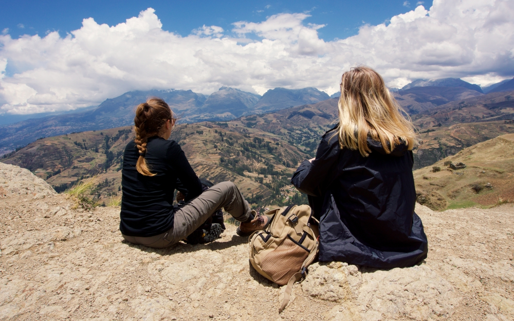 Christina and Isobel enjoying the view when we stopped for lunch.