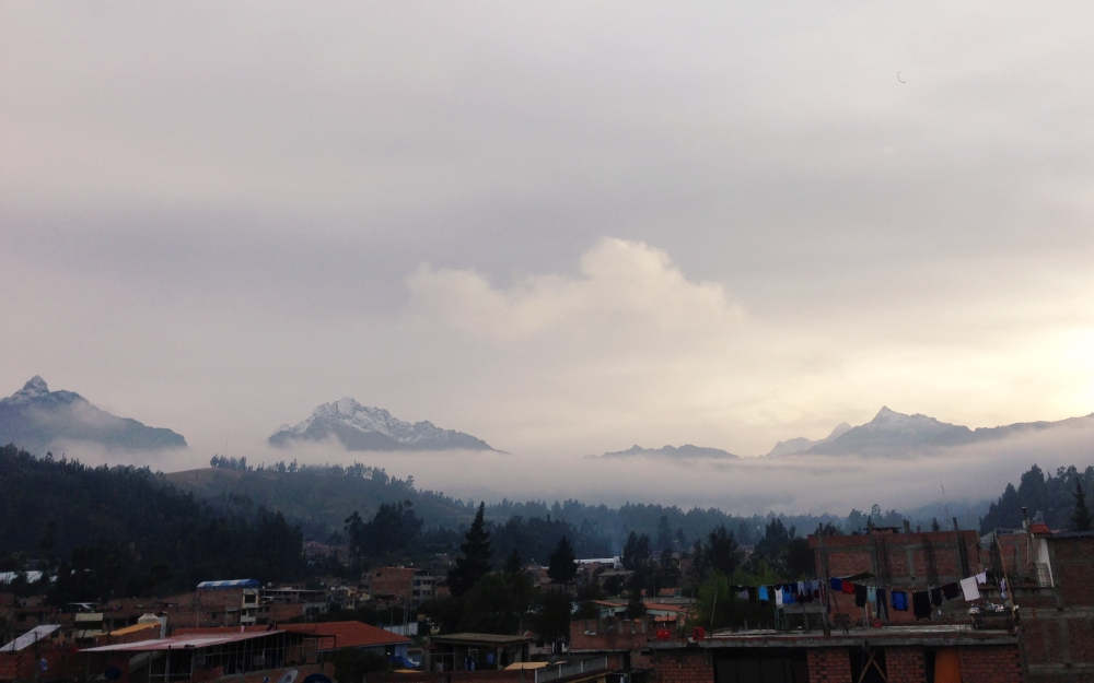 Sunrise from the rooftop veranda of our apartment in Huaraz.