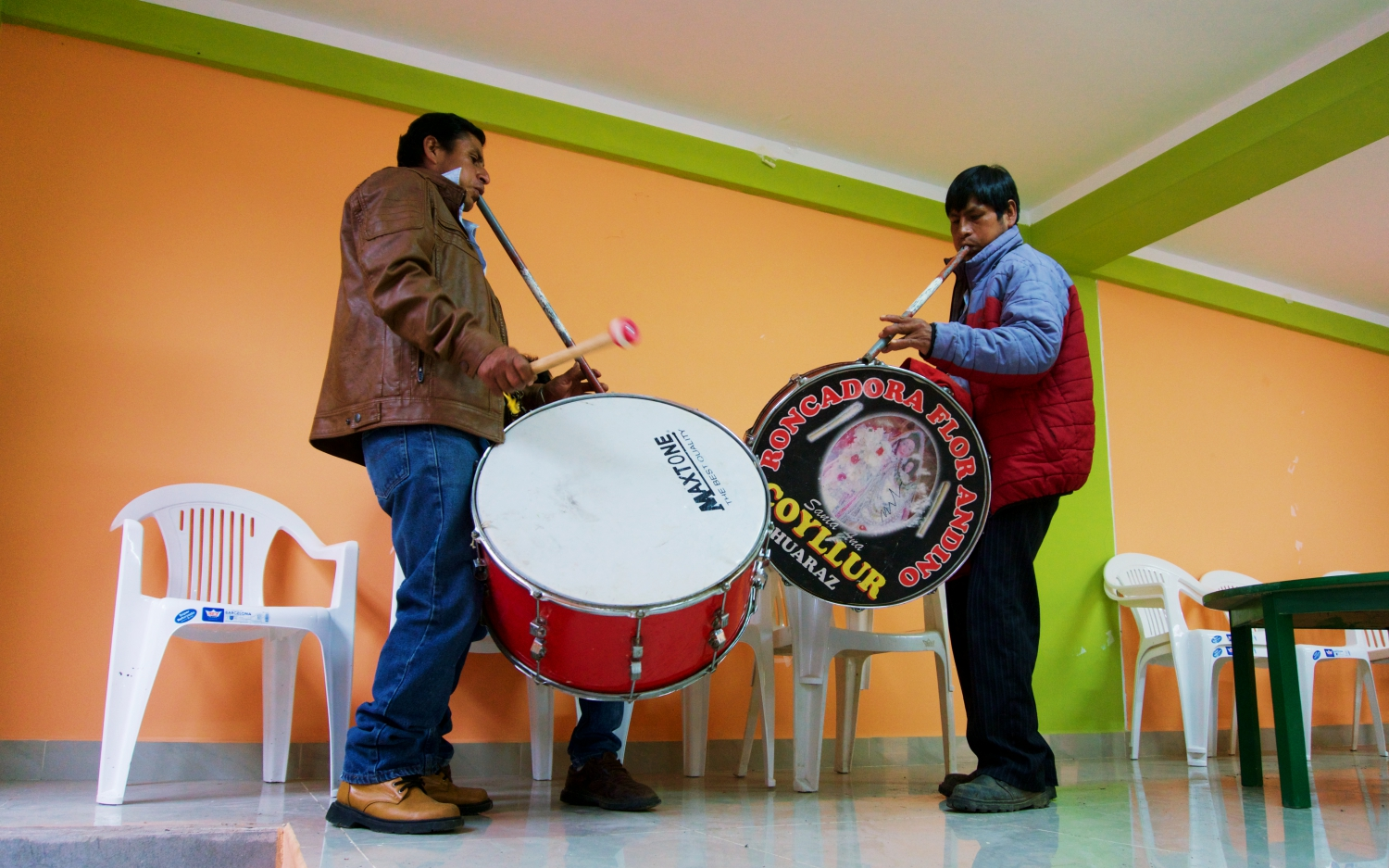 Local musicians signal the beginning of the tradition - many of the instruments are now made of modern materials and only a few still use the traditional sheep skin drums.