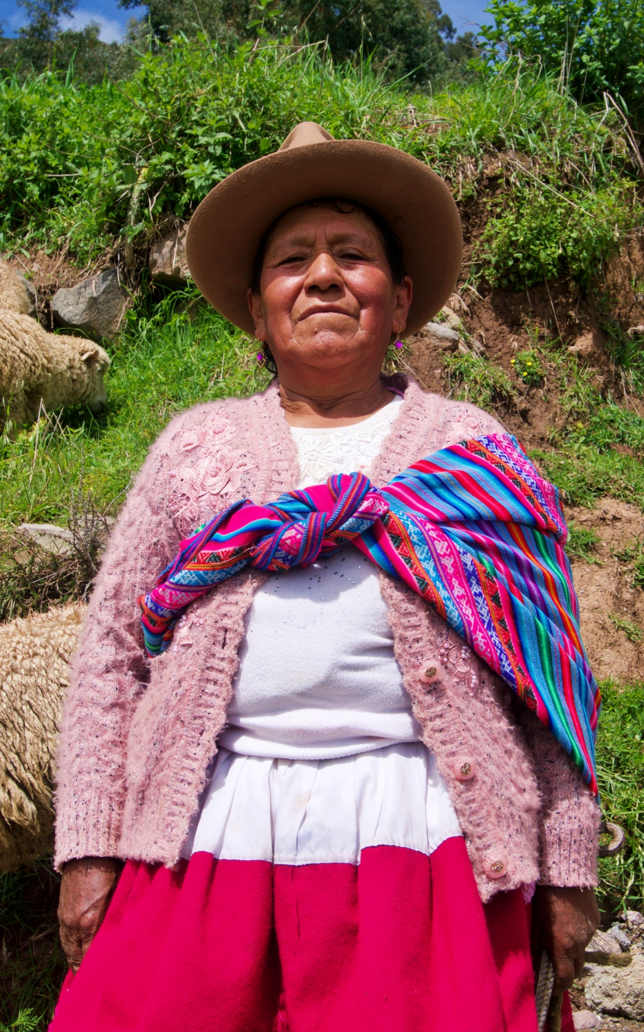 We met Josefina and her sheep as we walked up the steep trail leading up to Laguna Willcacocha. She's typically dressed like most of the women in the countryside.