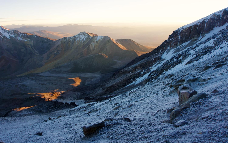 Sunrise on the way up to summit.