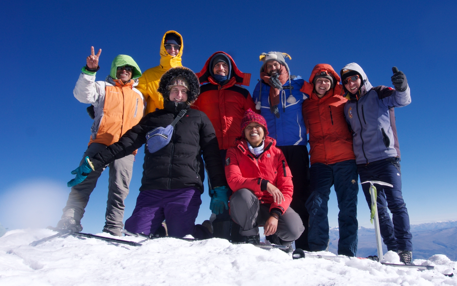The Chachani Squad that made it to the summit with our two guides: New Zealand, the UK, the USA, Germany and Peru represented!