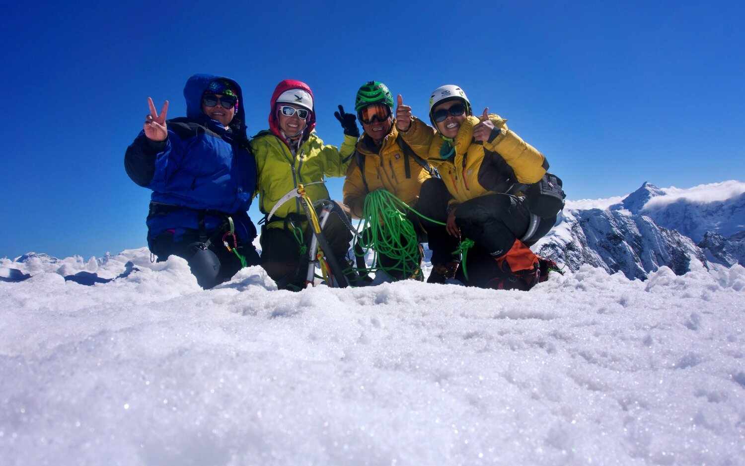 Mabel, Denis, Cesar and I on the summit of Vallunaraju at 5,686m a.s.l.