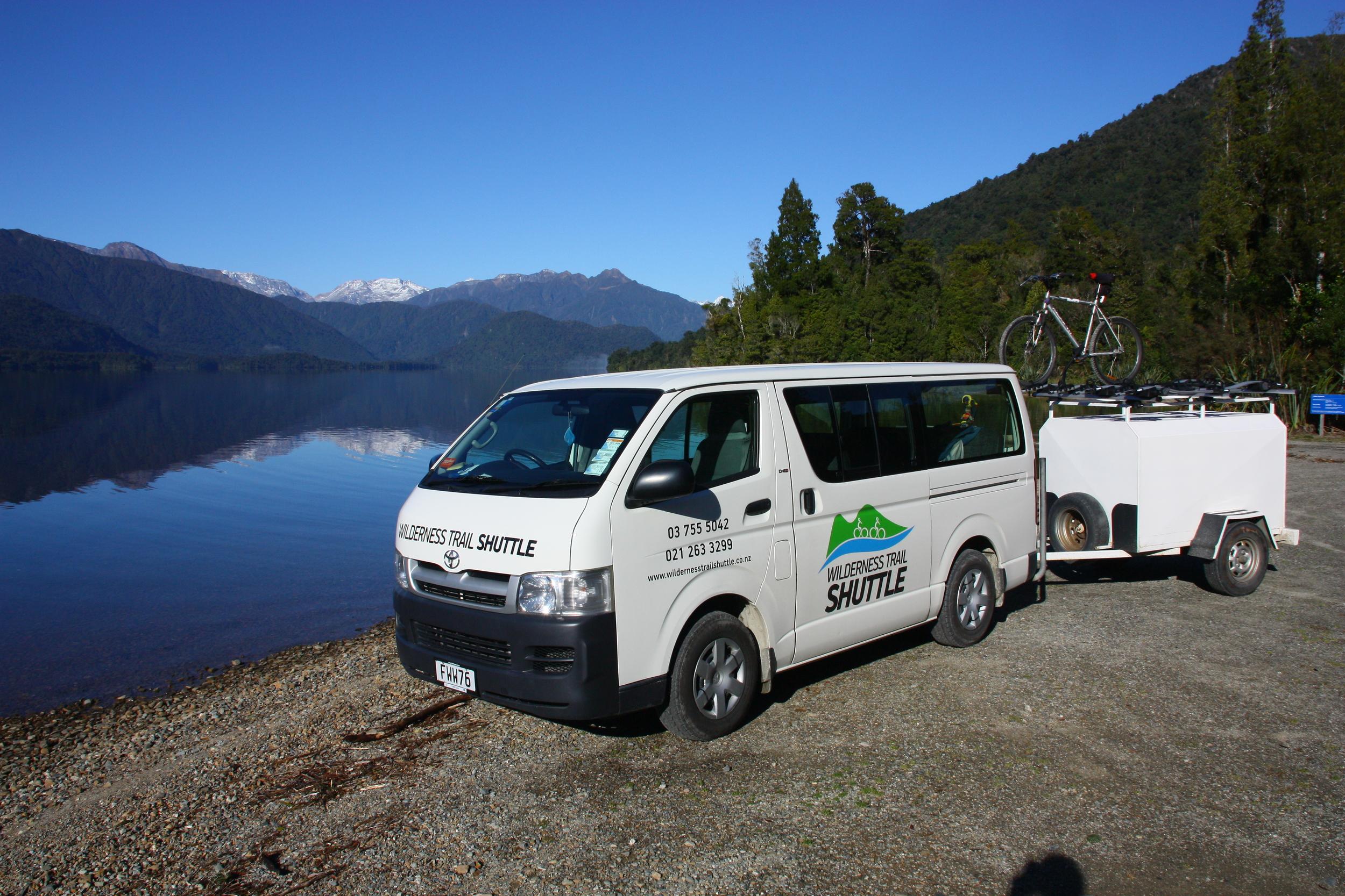 Wilderness Trail Shuttle parked at Kapitea Reservoir (Dillman's Dam).