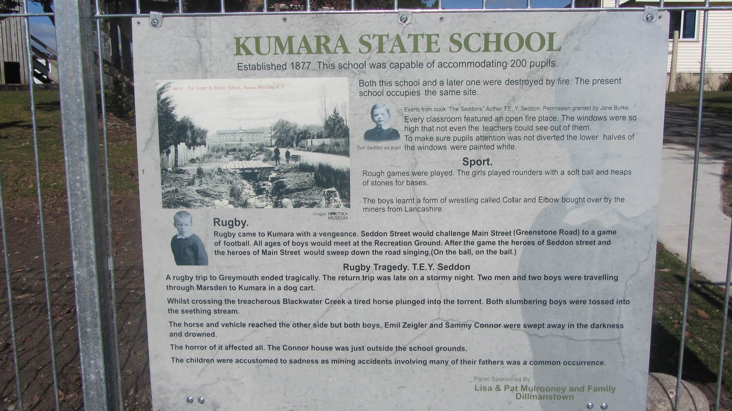 Kumara School history panel
