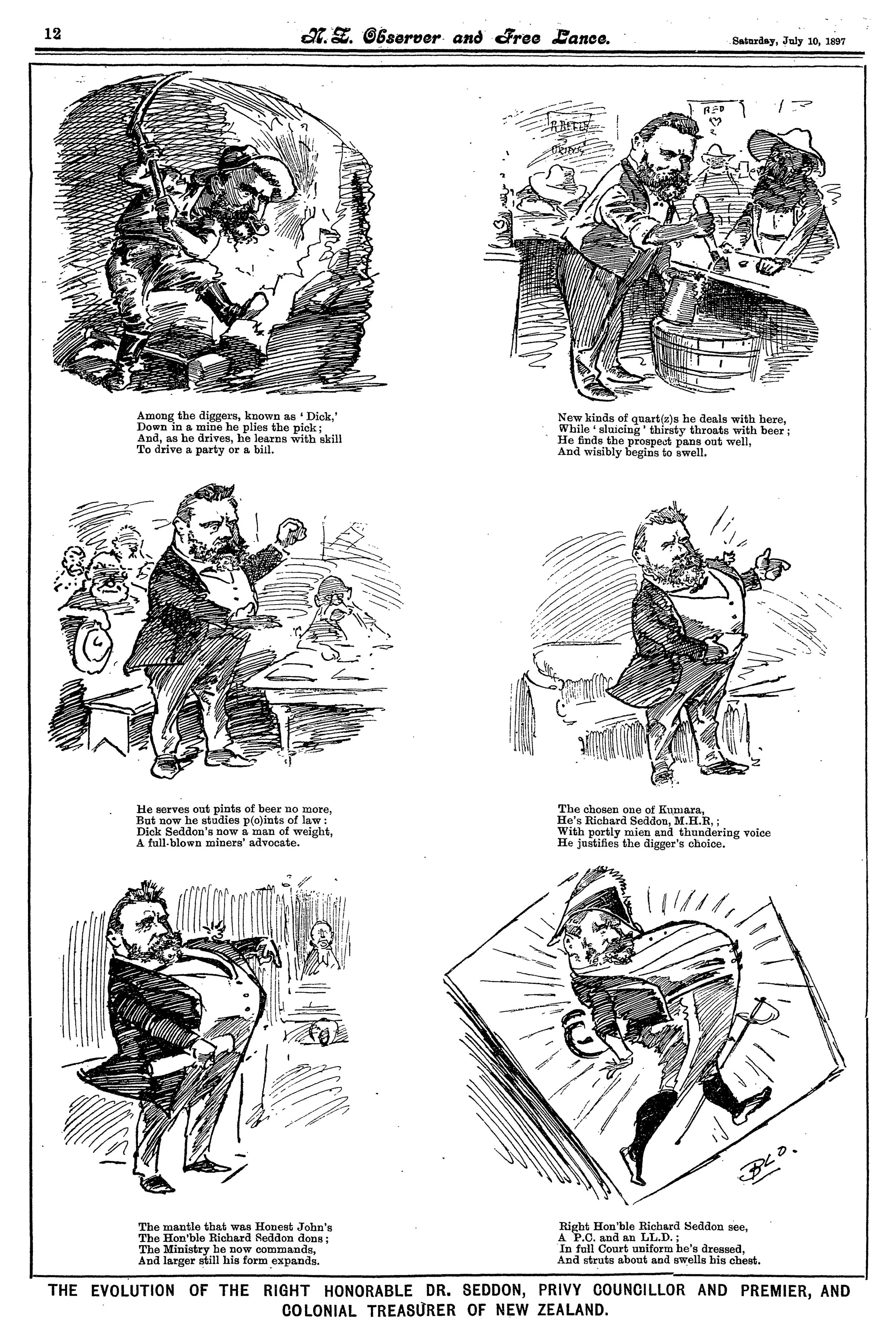 'The Chosen One of Kumara' -caricatures of Richard Seddon were common.