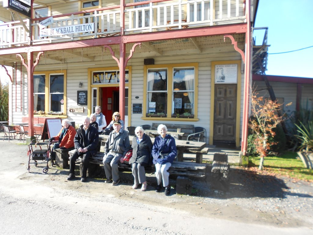 Outside the Former Blackball Hinton Hotel  From left to right: Mary Pat/Trevor/Lynlee/Kerrie/Bob/Jean/and Pauline