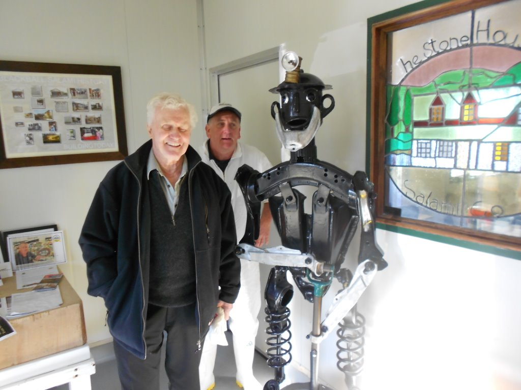 Pat Fitz and Phil Russ the owner of the Blackball salami shop with the Blackball coal miner