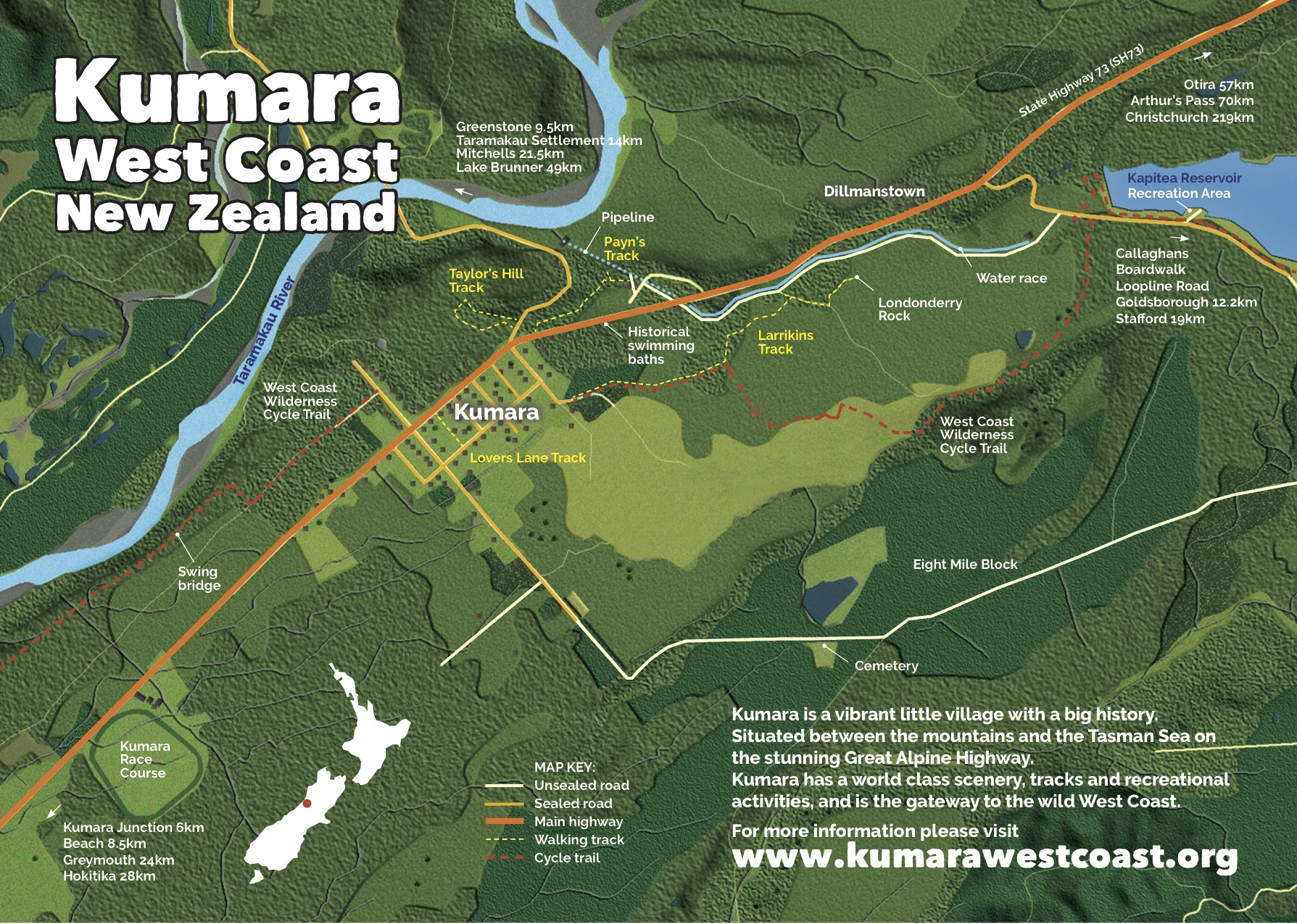 Kumara town map, accommodation and activity guide. Click to enlarge or download full map and key using the QR code below.