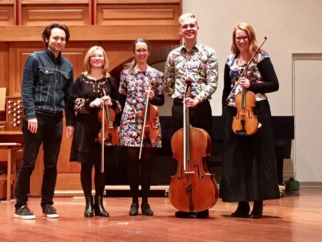 CP with Mila Li, Kat Tsyrlin, Luke Severn, and Georgia Stibbard of The Allotropy Quartet at Melba Hall.