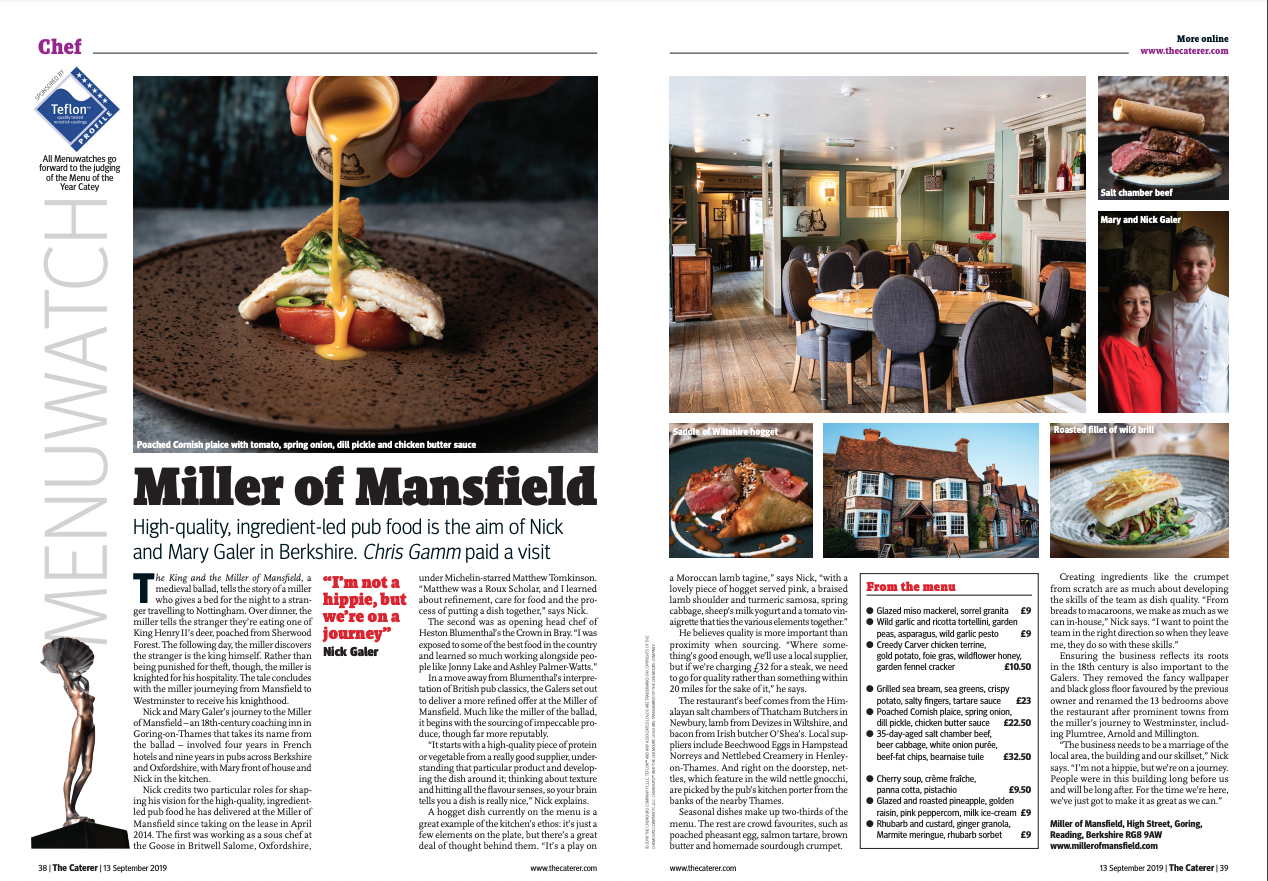 Miller of Mansfield, Menuwatch, The Caterer, September 2019