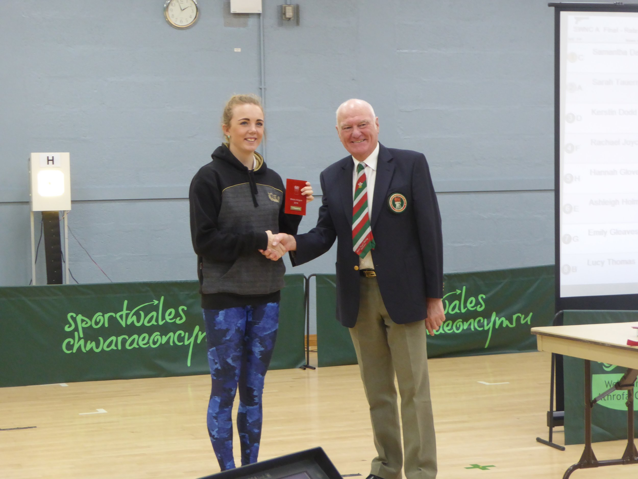 Jess Liddon receiving one of her two Silver medals