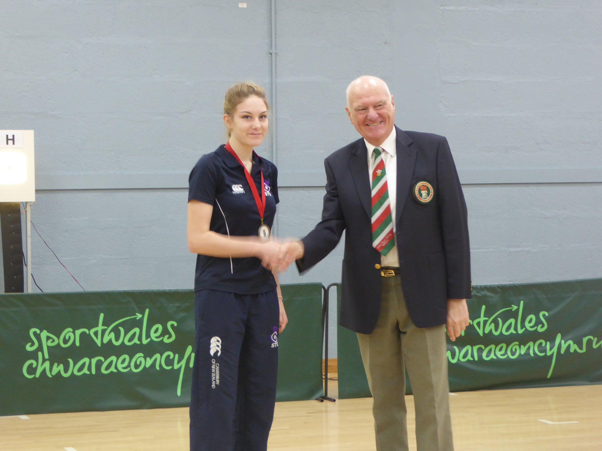 Kerstin Dodd receiving one of her two Bronze medals
