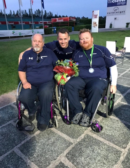 (Left to Right) Keith Shields (STS Shotgun AMG Chair), Mike Drever & Allan Ritchie at the IPC Para Trap World Cup in Lonato, Italy in September 2017