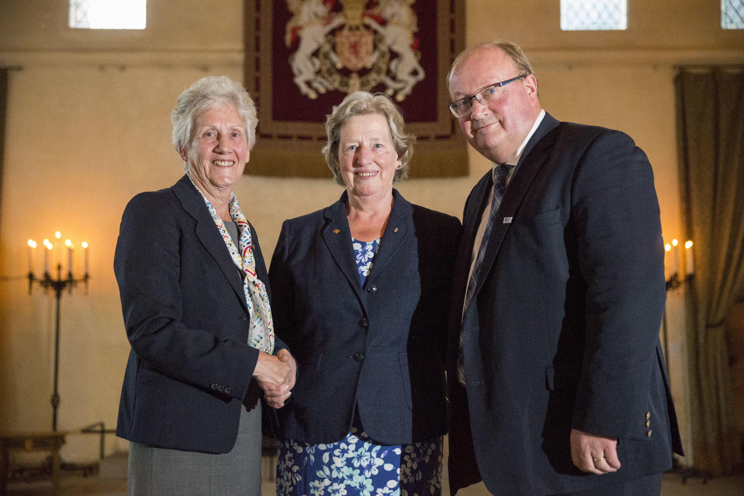 Joan with Louise Martin CBE and Paul Bush OBE, Chair of Commonwealth Games Scotland