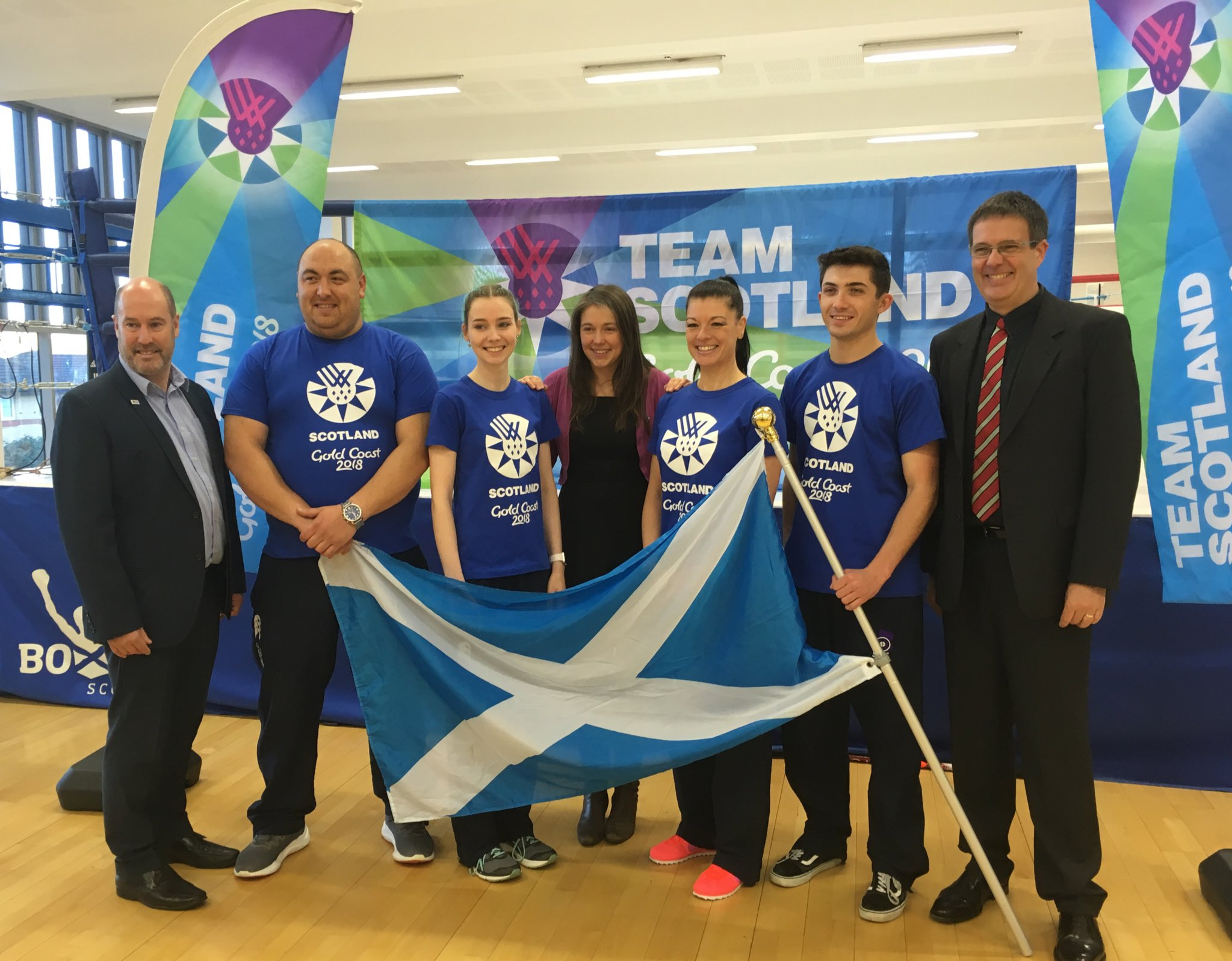 Team Scotland Chef de Mission, Jon Doig OBE, and Minister for Public Health & Sport, Aileen Campbell MSP, joins the Shooting Team Manager, Donald McIntosh, and some of the shooting team selected for Team Scotland at the announcement on St Andrews Day.