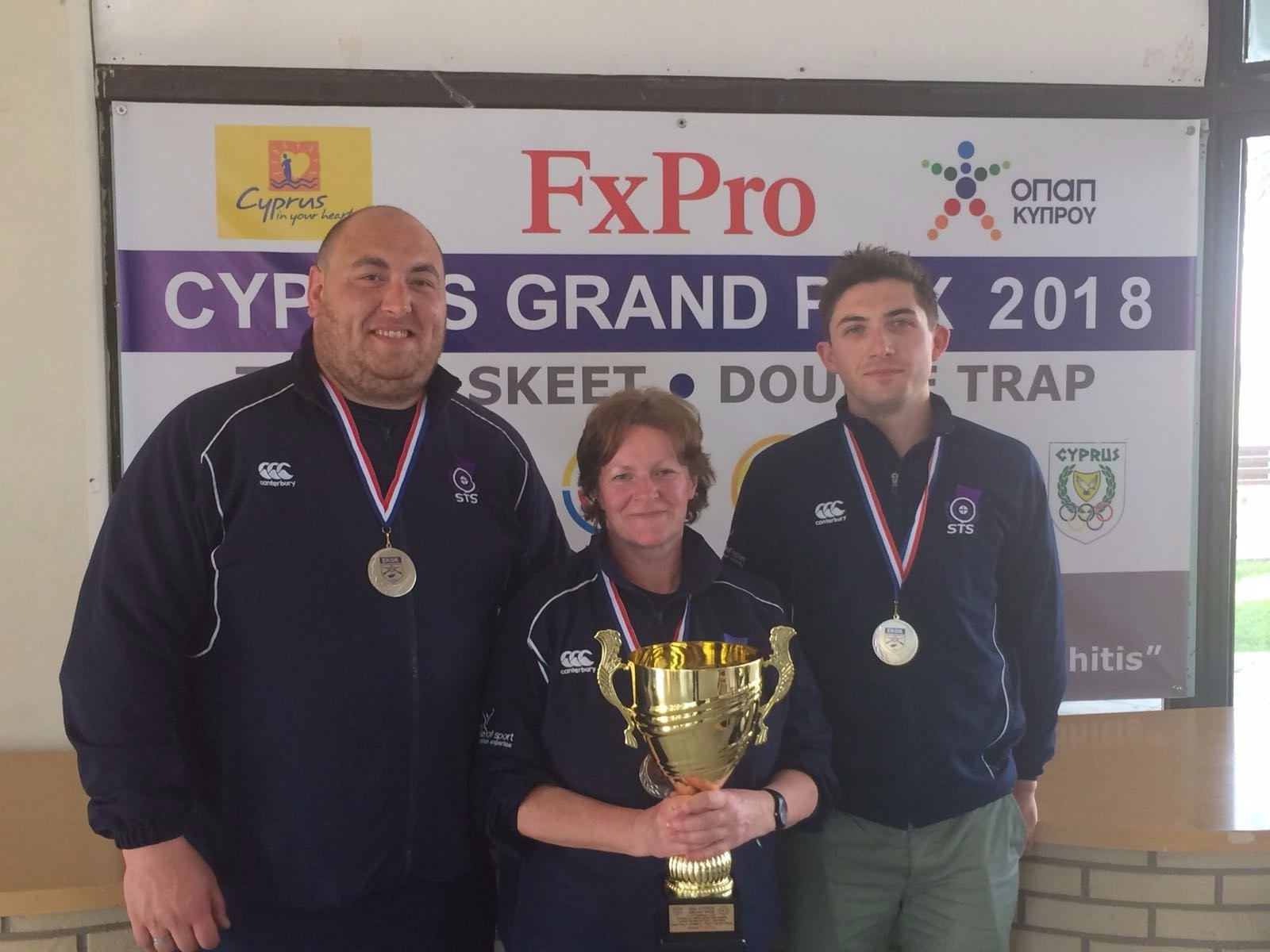 (Left to right) Calum Fraser (7th), Linda Pearson (13th) and David McMath (4th) at the 2018 Cyprus Grand Prix