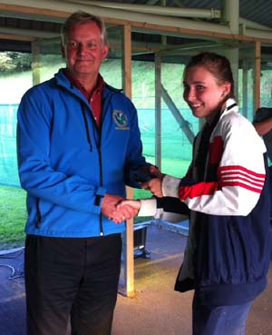 Ian presenting an award to now World Champion Prone shooter Seonaid McIntosh back in 2013