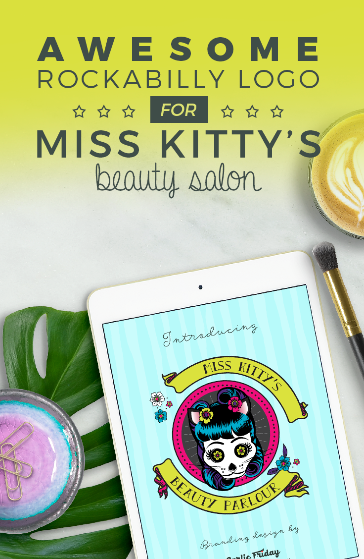 Awesome new rockabilly logo & brand design for Miss Kitty's Beauty Parlour by Garlic Friday Graphic Design