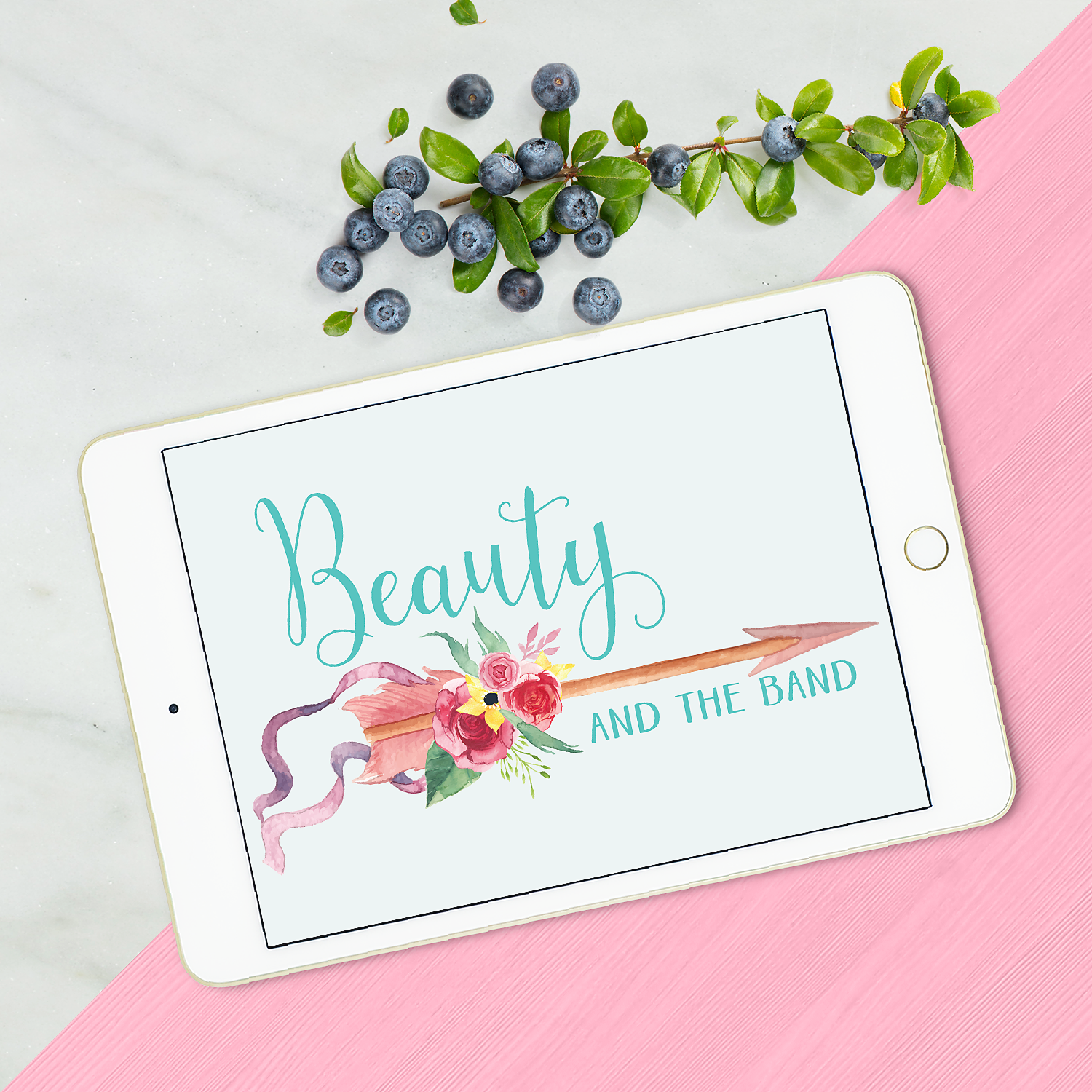 New watercolour logo for blogger, Beauty & the Band by www.garlicfriday.com