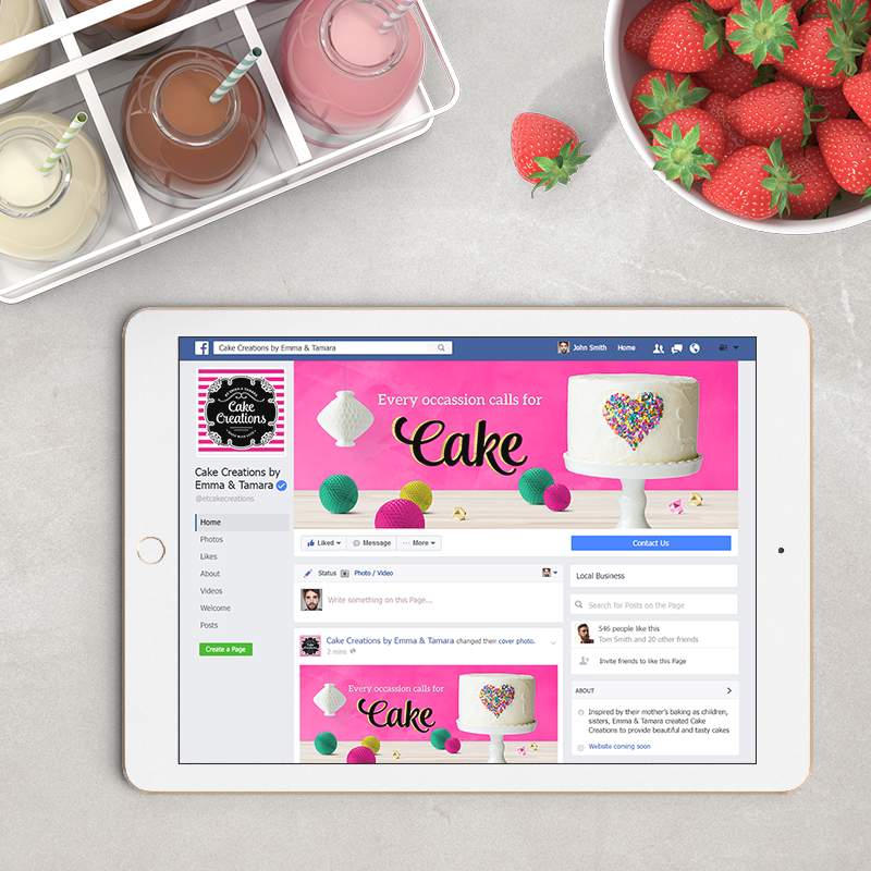 Custom Facebook Cover for brand Cake Creations by Emma & Tamara - Created by graphic designer Garlic Friday Design