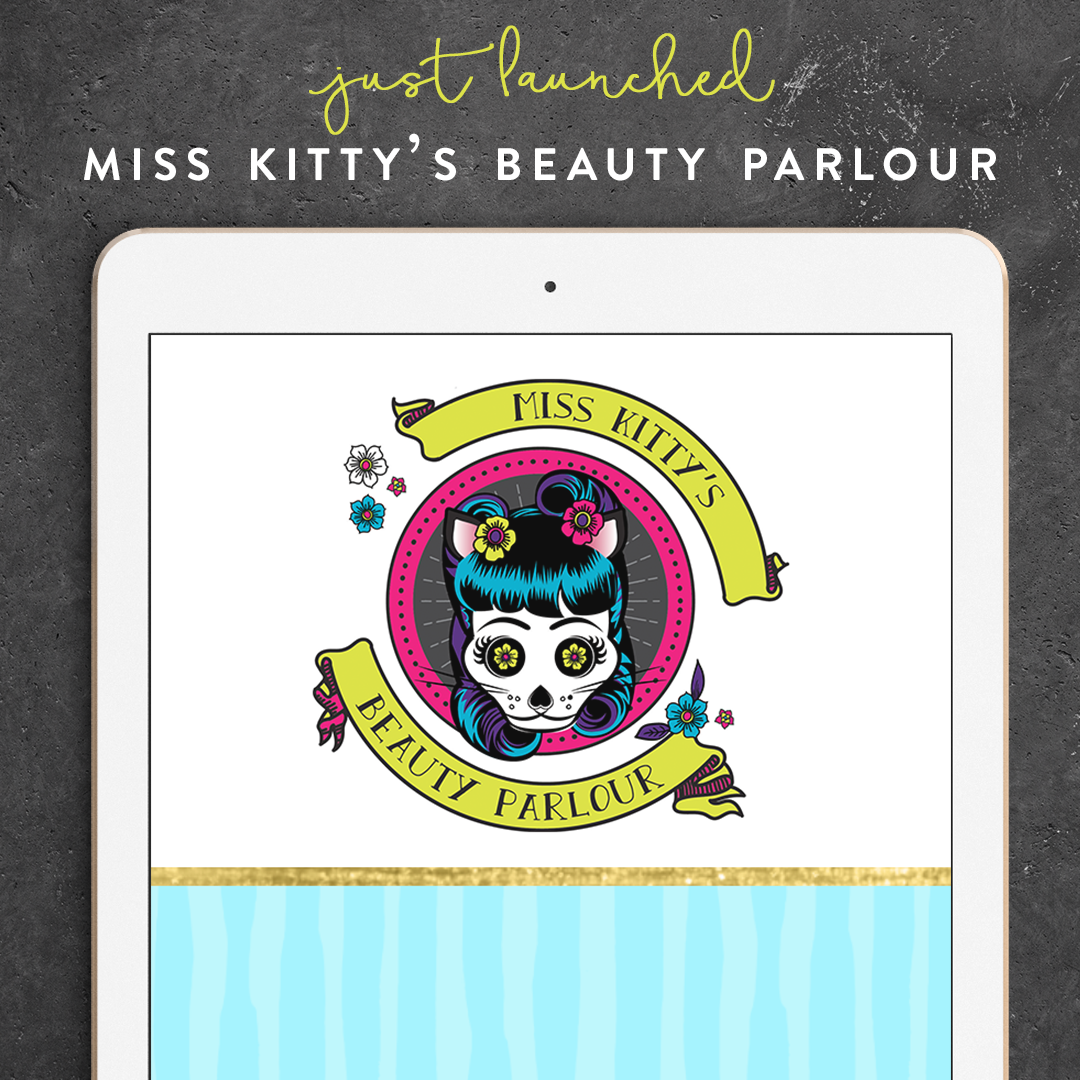 Awesome new rockabilly logo & brand design for Miss Kitty's Beauty Parlour