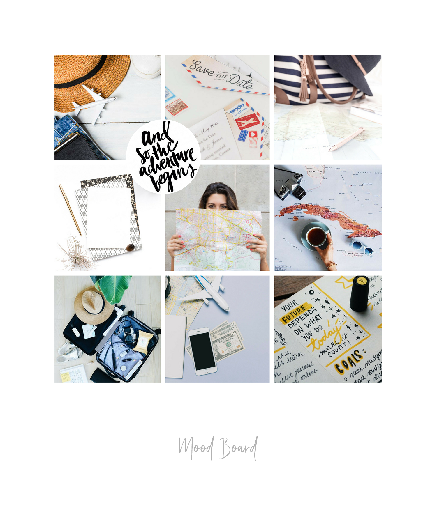 Mood board example for Custom Brand - Pinterest moodboard