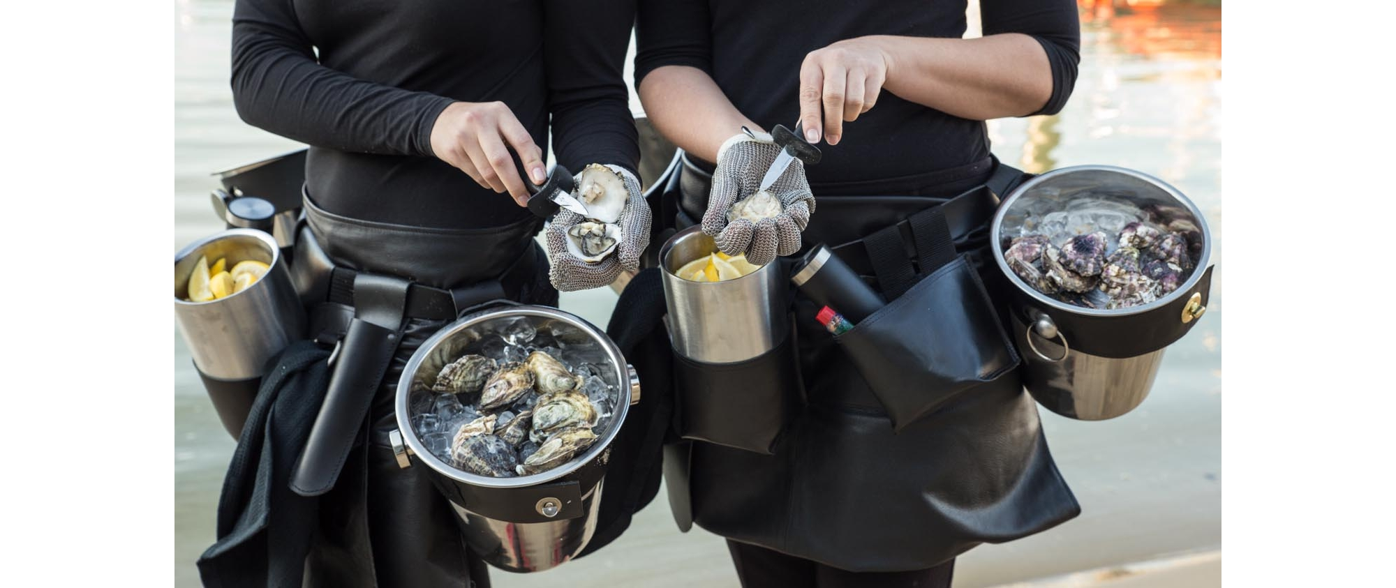 Our innovative oyster belts ensure our wonderful staff can reach each and everyone at the party!
