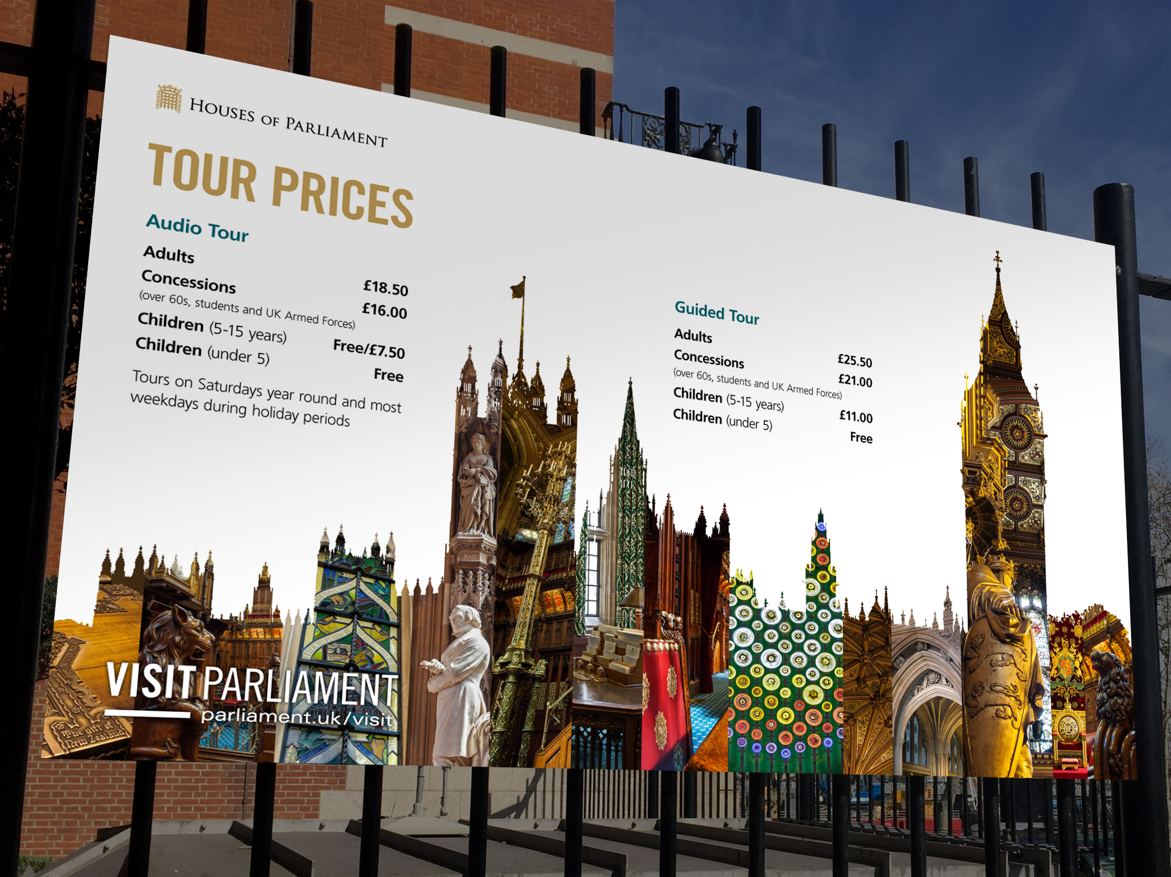 New Visit Parliament identity applied to Tour Price signage at Portcullis House