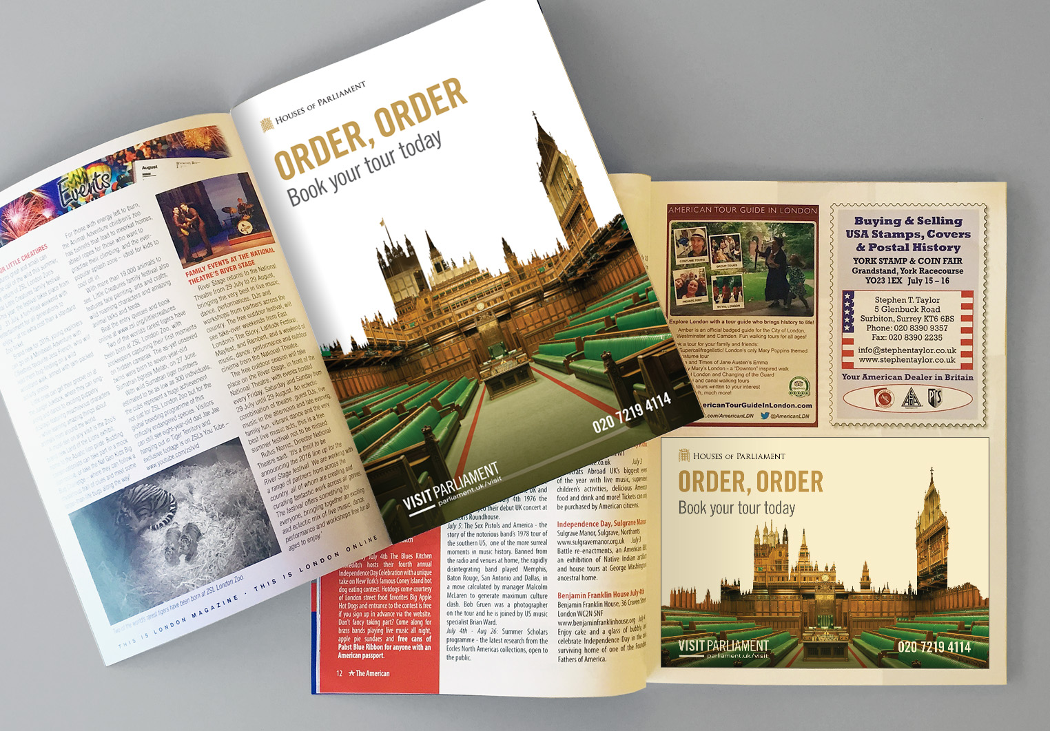 Printed adverts in tourist publications, and travel trade in UK and overseas