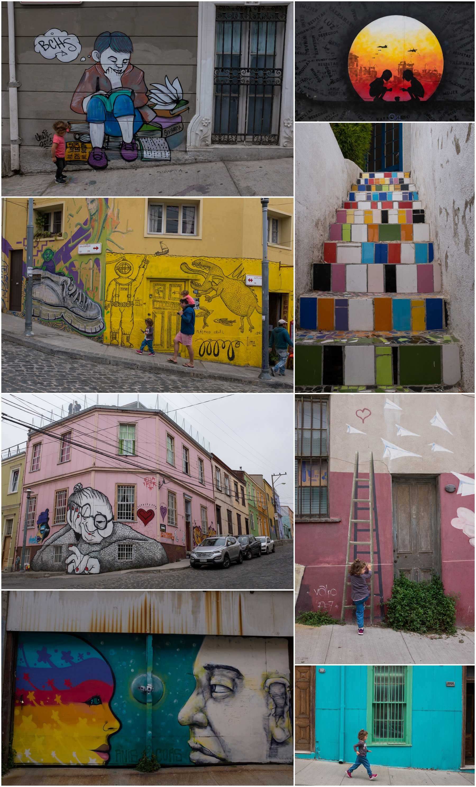 Colourful chaos in the hills of Valparaiso. We spent a day running amok from one decorated wall to the next.
