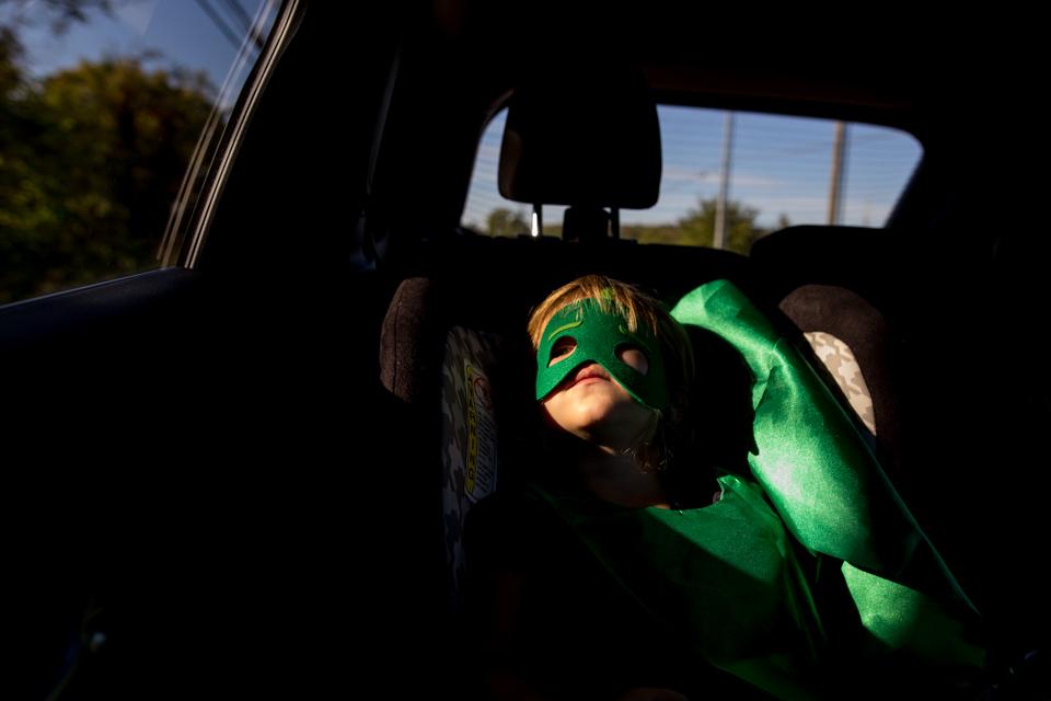 Superheroes ride in car seats